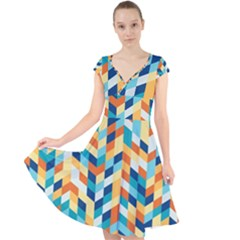 Geometric Retro Wallpaper Cap Sleeve Front Wrap Midi Dress by Nexatart