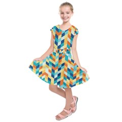 Geometric Retro Wallpaper Kids  Short Sleeve Dress