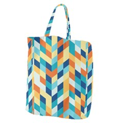 Geometric Retro Wallpaper Giant Grocery Zipper Tote