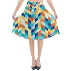 Geometric Retro Wallpaper Flared Midi Skirt by Nexatart