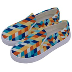 Geometric Retro Wallpaper Kids  Canvas Slip Ons by Nexatart