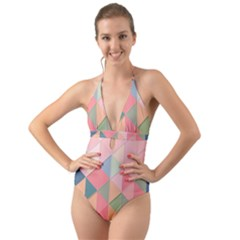 Background Geometric Triangle Halter Cut Out One Piece Swimsuit
