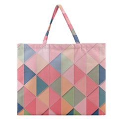 Background Geometric Triangle Zipper Large Tote Bag