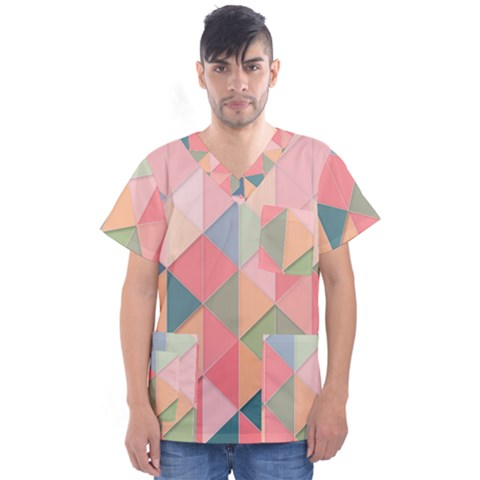 Background Geometric Triangle Men s V-neck Scrub Top by Nexatart