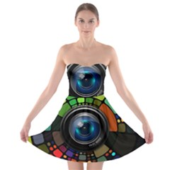 Lens Photography Colorful Desktop Strapless Bra Top Dress