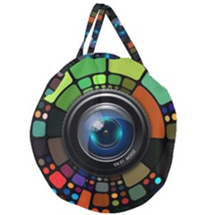 Lens Photography Colorful Desktop Giant Round Zipper Tote