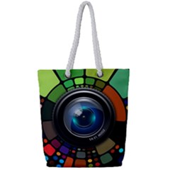 Lens Photography Colorful Desktop Full Print Rope Handle Tote (small)