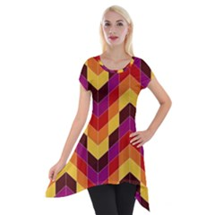 Geometric Pattern Triangle Short Sleeve Side Drop Tunic