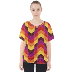 Geometric Pattern Triangle V-neck Dolman Drape Top