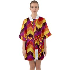 Geometric Pattern Triangle Quarter Sleeve Kimono Robe by Nexatart