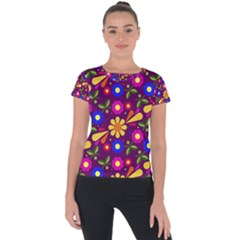 Flower Pattern Illustration Background Short Sleeve Sports Top  by Nexatart