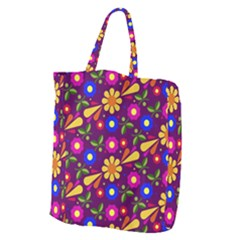 Flower Pattern Illustration Background Giant Grocery Zipper Tote