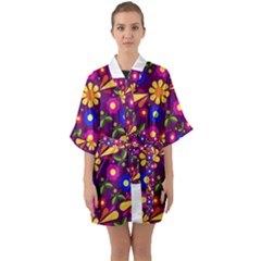Flower Pattern Illustration Background Quarter Sleeve Kimono Robe by Nexatart