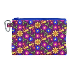 Flower Pattern Illustration Background Canvas Cosmetic Bag (large) by Nexatart