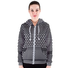 Holes Sheet Grid Metal Women s Zipper Hoodie
