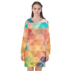 Texture Background Squares Tile Long Sleeve Chiffon Shift Dress