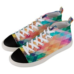 Texture Background Squares Tile Men s Mid Top Canvas Sneakers by Nexatart