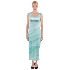 Blue Texture Seawall Ink Wall Painting Fitted Maxi Dress