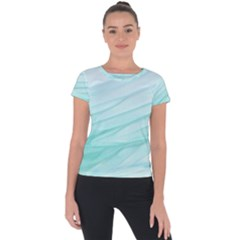 Blue Texture Seawall Ink Wall Painting Short Sleeve Sports Top