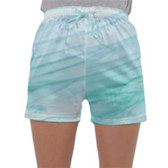 Blue Texture Seawall Ink Wall Painting Sleepwear Shorts