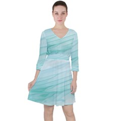 Blue Texture Seawall Ink Wall Painting Ruffle Dress