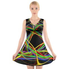 Ball Abstract Pattern Lines V Neck Sleeveless Skater Dress
