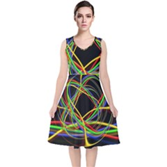 Ball Abstract Pattern Lines V Neck Midi Sleeveless Dress