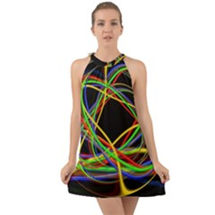 Ball Abstract Pattern Lines Halter Tie Back Chiffon Dress
