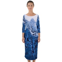 Water Nature Background Abstract Quarter Sleeve Midi Bodycon Dress