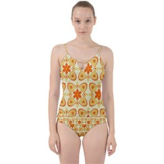 Background Floral Forms Flower Cut Out Top Tankini Set