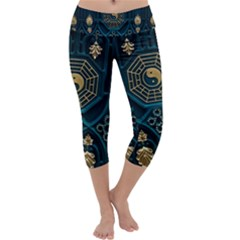 Ying Yang Abstract Asia Asian Background Capri Yoga Leggings
