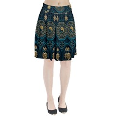 Ying Yang Abstract Asia Asian Background Pleated Skirt