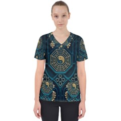 Ying Yang Abstract Asia Asian Background Scrub Top