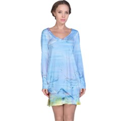 Background Art Abstract Watercolor Long Sleeve Nightdress