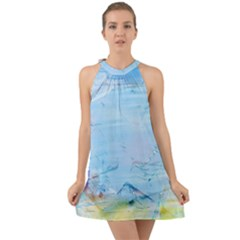 Background Art Abstract Watercolor Halter Tie Back Chiffon Dress