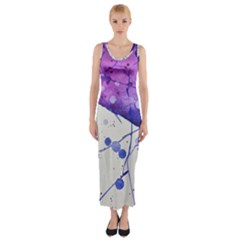 Art Painting Abstract Spots Fitted Maxi Dress
