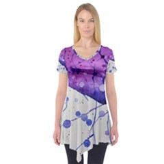 Art Painting Abstract Spots Short Sleeve Tunic