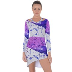 Art Painting Abstract Spots Asymmetric Cut Out Shift Dress