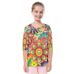 Colorful Abstract Background Colorful Kids  Quarter Sleeve Raglan Tee