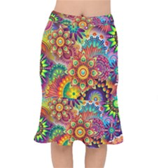 Colorful Abstract Background Colorful Mermaid Skirt