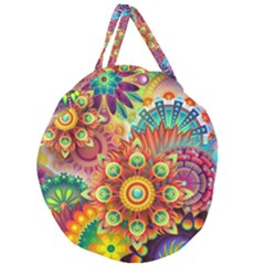 Colorful Abstract Background Colorful Giant Round Zipper Tote