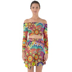 Colorful Abstract Background Colorful Off Shoulder Top With Skirt Set