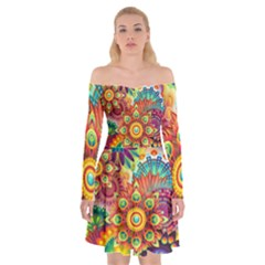 Colorful Abstract Background Colorful Off Shoulder Skater Dress