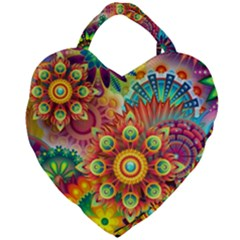 Colorful Abstract Background Colorful Giant Heart Shaped Tote