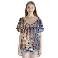 Wallpaper Steel Industry V Neck Flutter Sleeve Top by Nexatart