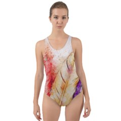 Feathers Bird Animal Art Abstract Cut Out Back One Piece Swimsuit