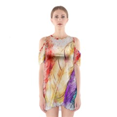 Feathers Bird Animal Art Abstract Shoulder Cutout One Piece by Nexatart