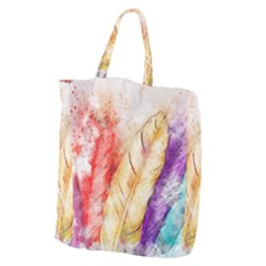 Feathers Bird Animal Art Abstract Giant Grocery Zipper Tote