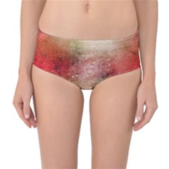 Background Art Abstract Watercolor Mid Waist Bikini Bottoms