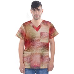 Background Art Abstract Watercolor Men s V Neck Scrub Top